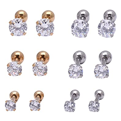 a8076d39a Titanium Steel Anti- Allergy Cubic Zirconia Earrings Studs Barbell Piercing  Earrings for Girls 6 Pairs
