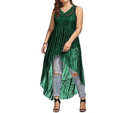 a2fc7c0a7b3 Gamiss Women Long Blouse High Low See Through Lace Plus Size Tops Sexy V- Neck
