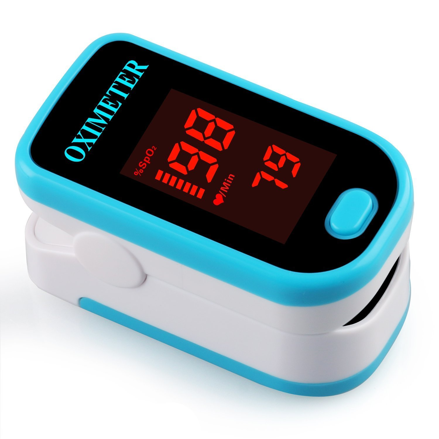 Pulse Oximeter, Finger Portable FDA Approved Digital Blood Oxygen and Pulse Sensor Meter with Alarm SPO2 For Adults and Children (Blue)