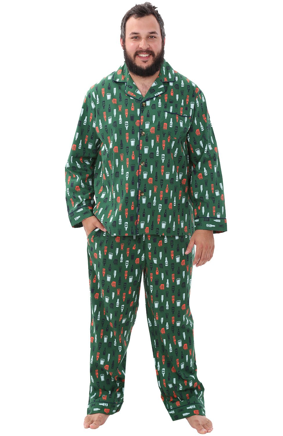 Alexander Del Rossa Mens Cotton Pajamas, Long Woven Pj Set, Large Beer Mugs and Bottles on Green (A0714V64LG)
