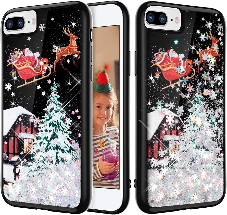 Caka iPhone 7 Plus Christmas Case, iPhone 6 Plus 6S Plus 7 Plus 8 Plus Glitter Case Bling Flowing Liquid Snowflake Sparkle Black Case for iPhone 6 Plus 6S Plus 7 Plus 8 Plus (Silver)