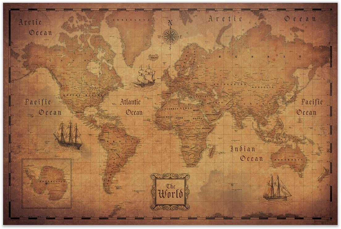 Conquest Maps Map of The World (Poster) Antique Vintage Map Style Decor-Travels & Adventures! Quality Matte Paper - World Treasure map - City/State/Country Labels - 2015 Data (24 x 16 Inches)