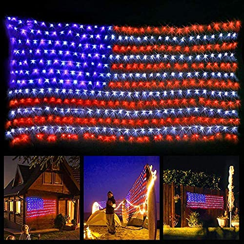 Upgraded Safe Voltage Led Flag Net Light,6.5ft3.2ft Waterproof American US Flag String Light with 420 Bright LEDs for Independence Day,Festival,Garden,Indoor and Outdoor