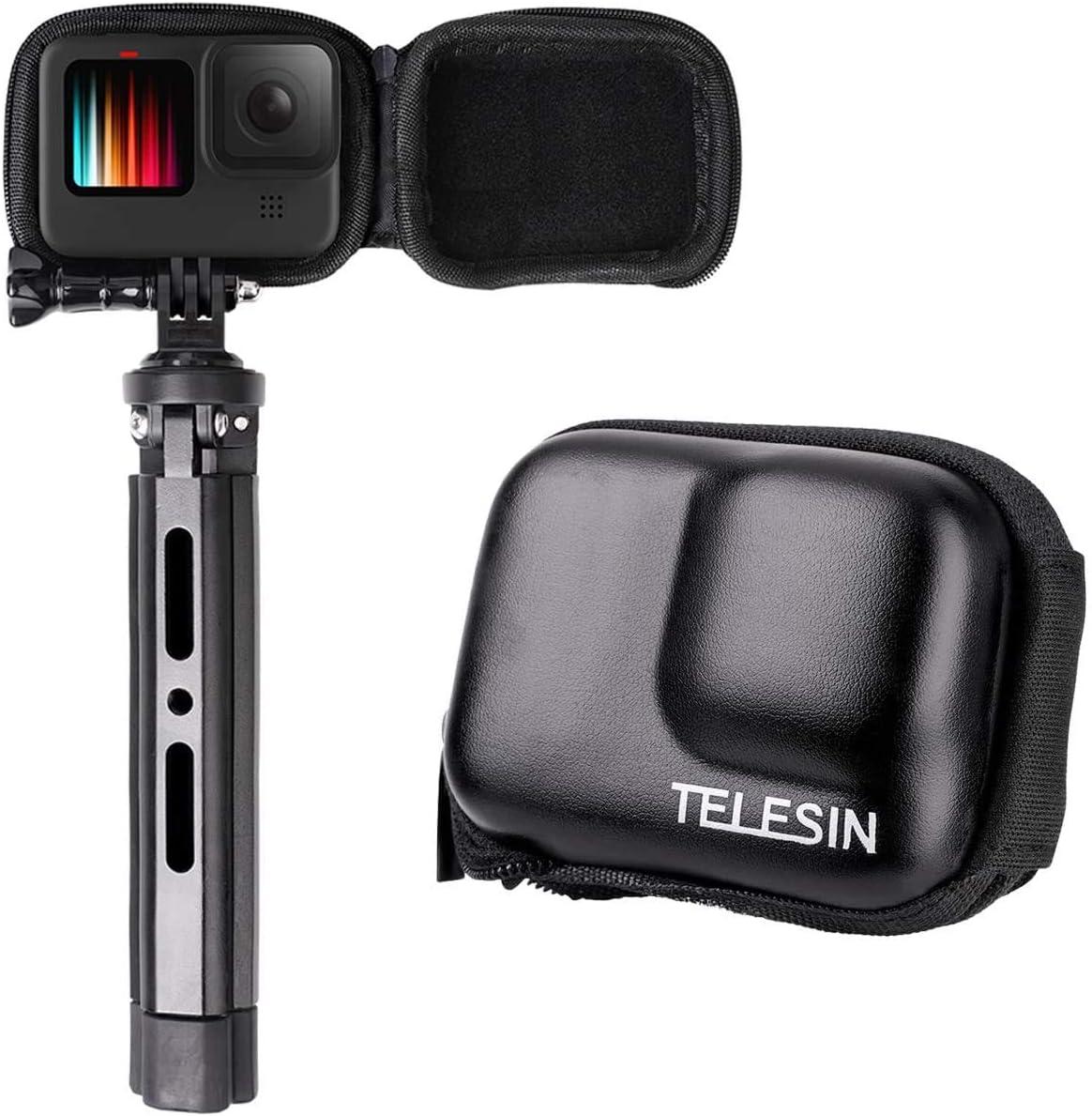 Telesin Mini Tasche Für Hero 9 Schwarz Tragbar Kameratasche Mit Halbstarrer Tasche Für Transport Gopro Hero 9 Kompatibel Mit Selfie Stick Für Hero 9 Sport Freizeit