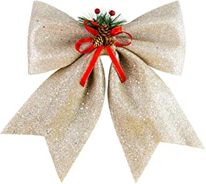 BigOtters Christmas Decorative Bow, 14.5 x 13 inches Large Glitter Bow Sparkly Bowknot with Pine Cones for Wreath Garland Treetopper Xmas Tree Ornament Home Wall Door Decor, Champagne