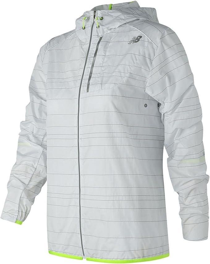 New Balance Damen Reflective Lite Packable Laufjacke Jacke, weiß/Neongelb