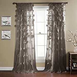 "Lush Decor Riley Curtain Sheer Ruffled Textured Bow Window Panel for Living, Dining Room, Bedroom (Single) 84"" x 54"" Gray"