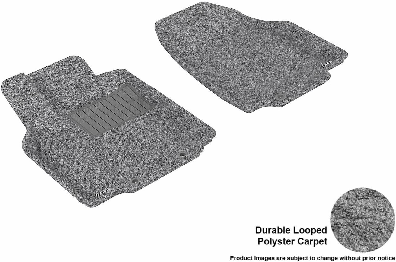 3D MAXpider Front Row Custom Fit Floor Mat for Select Toyota Highlander Models Gray Classic Carpet