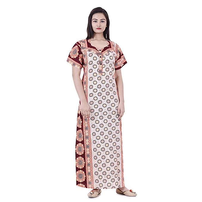 43f555adfa Image Unavailable. Image not available for. Color  Womens Nighty Nightwear Gown  Cotton Maxi Dress Sleepwear Nightgown ...