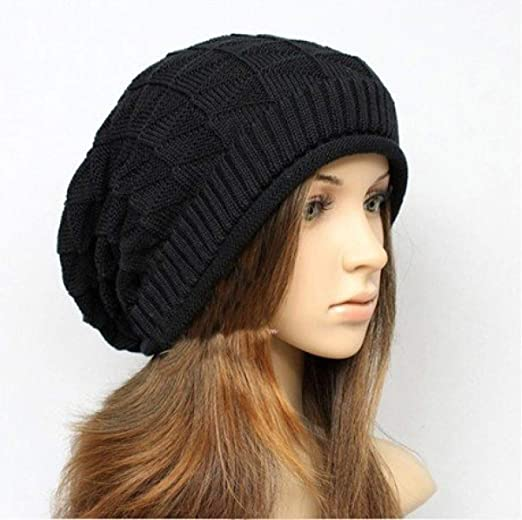 Amazon.com: WEEKEND SHOP New Winter Hats for Women Autumn Warm Skullies Beanies Knitted Hat Fashion Girls Baggy Slouchy Bonnet Casual Ladies Cap Black: Home ...