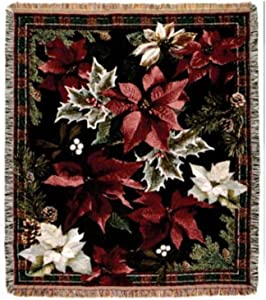 Simply Home Poinsettia's N' Plaid Tapestry Throw Blanket