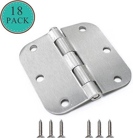 Pack of 18 Global Door Hardware Stain Nickel 3.5 X 3.5 with 5//8 Radius Door Hinges