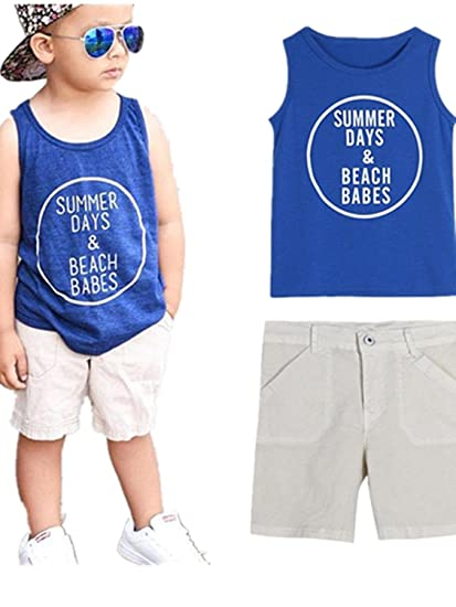 "88f1bfe5fc Sagton ""SUMMER DAYS BEACH BABES"" Toddler Kid Baby Boys Clothes  Set Soft Vest"