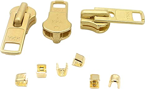2- #8 2- #10 YKK Zipper Kit  Brass Auto Lock Sliders 8 Assorted  2- #5 2- #7