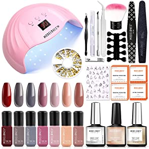 Gel Nail Polish Kit with U V Light 48W LED Nail Lamp Modelones 7 Colors Shellac Gel Nail Polish Set, Base Top Coat, Nail Primer, Nail Art decorations, Home DIY Starter Kit Gel Manicure Kit with Light