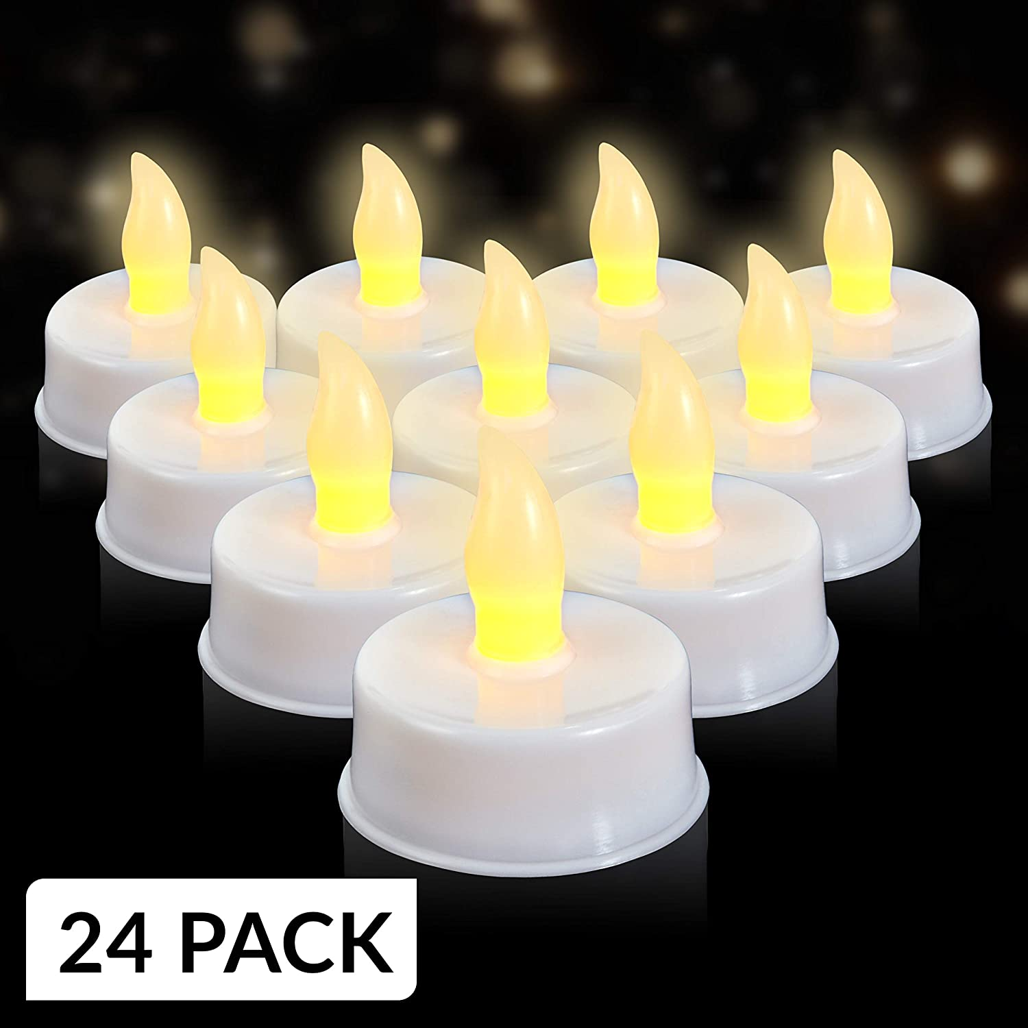 LED Flameless Tealights Pack of 24 White Faux Tea Light Candles with Realistic Flicker Batteries Included by Light Me Up