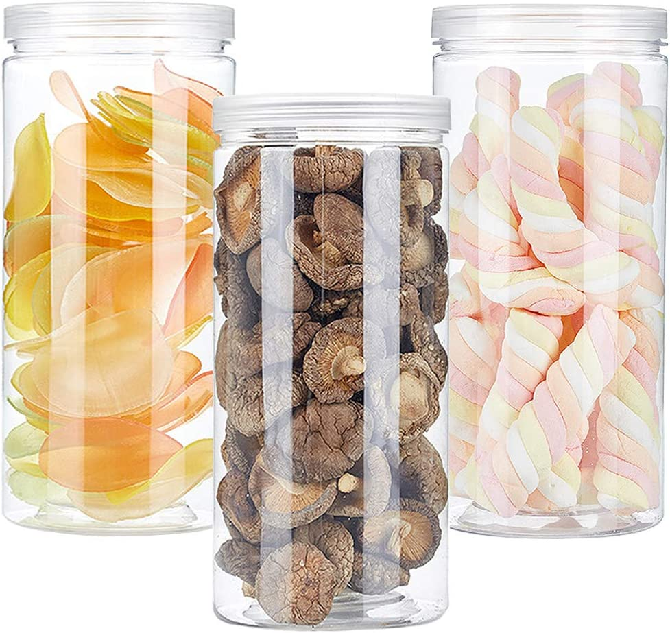 3 PCS 46OZ/1360ml Clear Plastic Round Storage Jars,Empty Plastic Jars with Lids,Clear Plastic Storage Jars with Screw on Lids for Dry goods,Noodles,Spices and More