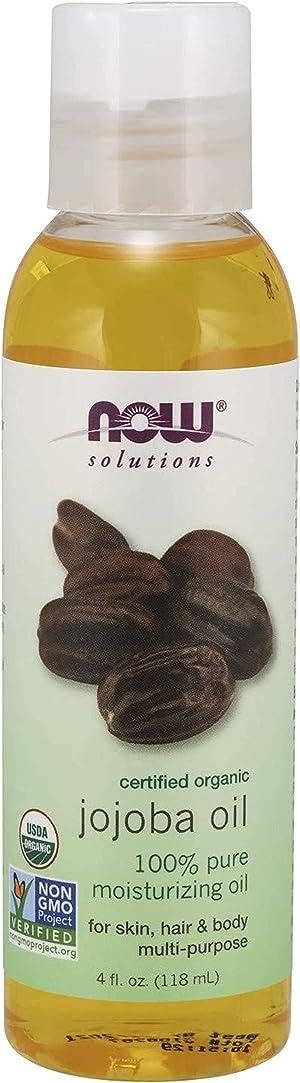Now Solutions, Organic Jojoba Oil, Moisturizing Multi-Purpose Oil for Face, Hair and Body, 4 Fl Oz