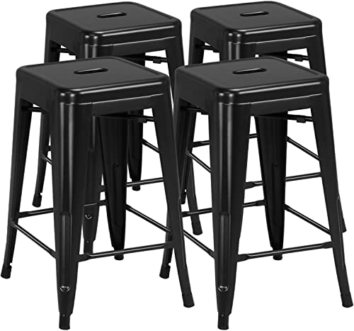 Yaheetech 24 inch barstools Set of 4 Counter Height Metal Bar Stools, Indoor Outdoor Stackable Bartool Industrial High Backless Stools Black