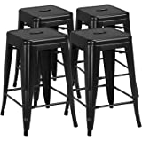 Yaheetech 24 inch barstools Set of 4 Counter Height Metal Bar Stools, Indoor/Outdoor Stackable Bartool Industrial High Backle