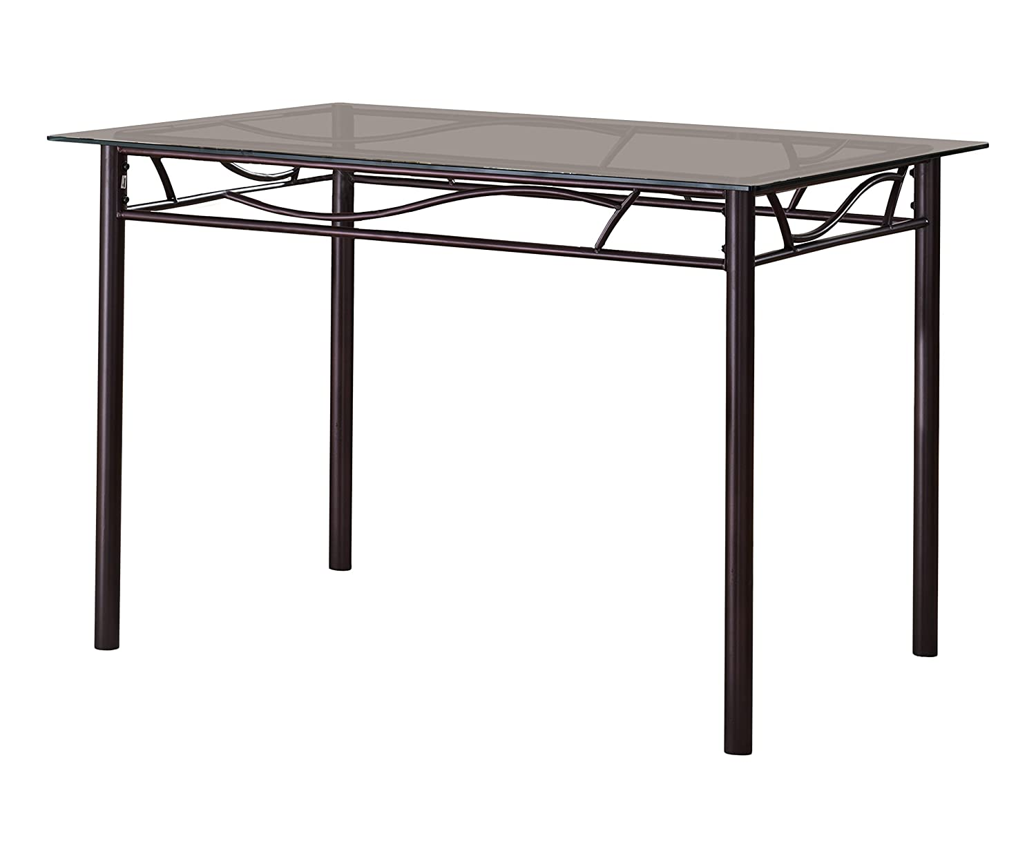 Amazon com kings brand furniture bronze metal tempered glass top rectangular kitchen dinette table tables