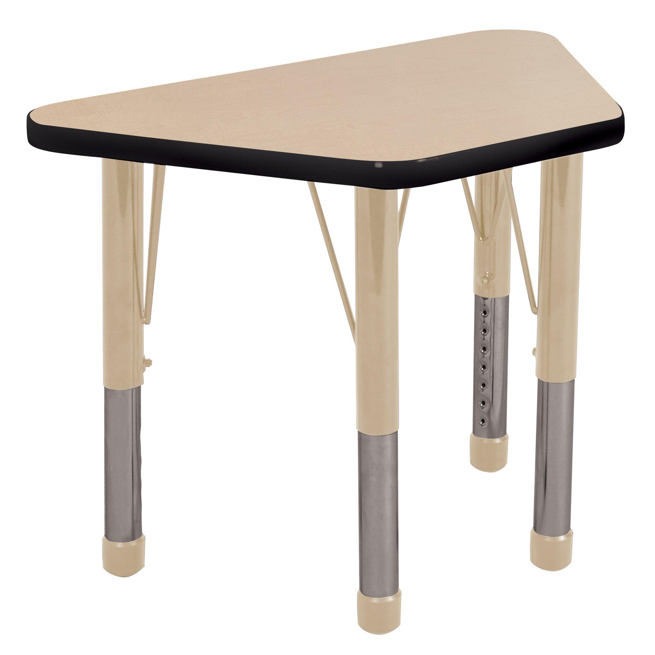 ECR4Kids Everyday T-Mold 18'' x 30'' Trapezoid Activity School Table, Chunky Legs, Adjustable Height 15-24 inch (Maple/Black/Sand)