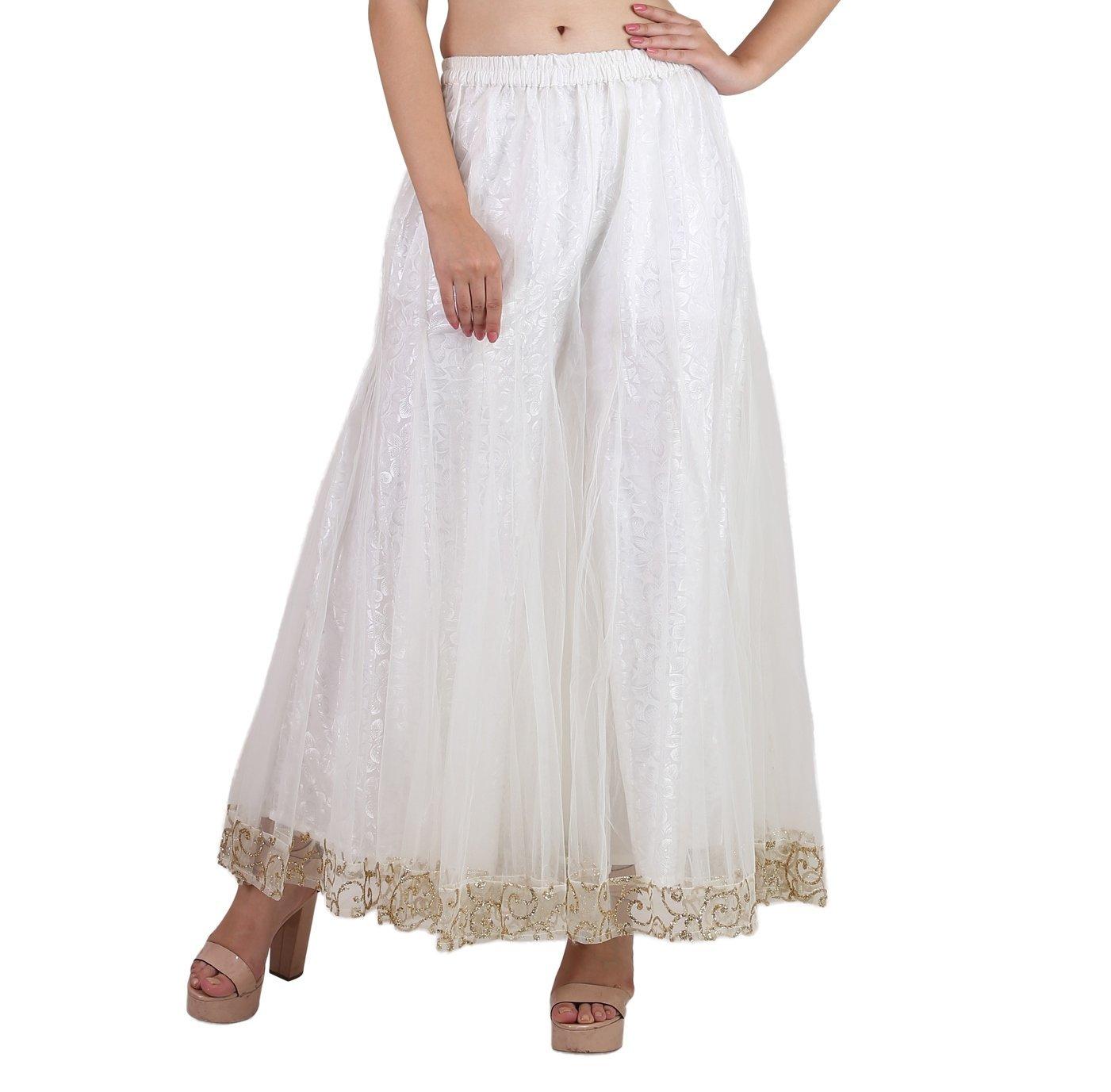 Shararat Women's Palazzo Pants Net Loose Flared High Waist Sharara Trouser