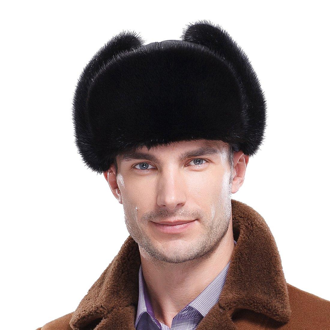 URSFUR Classic Men's Mink Fur & Leather Russian Ushanka Hats (One Size, Black) by URSFUR