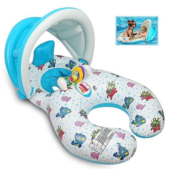 QIN-SUN Inflable Madre Bebé Piscina natación Anillo con sombrilla Ajustable Barco de natación para 6-36 Meses