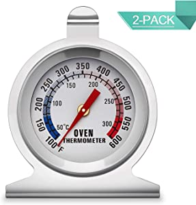 KT THERMO Dial Oven Thermometer(2-PACK) With Instant Read,2-Inch Stainless Steel Grill Thermometer …