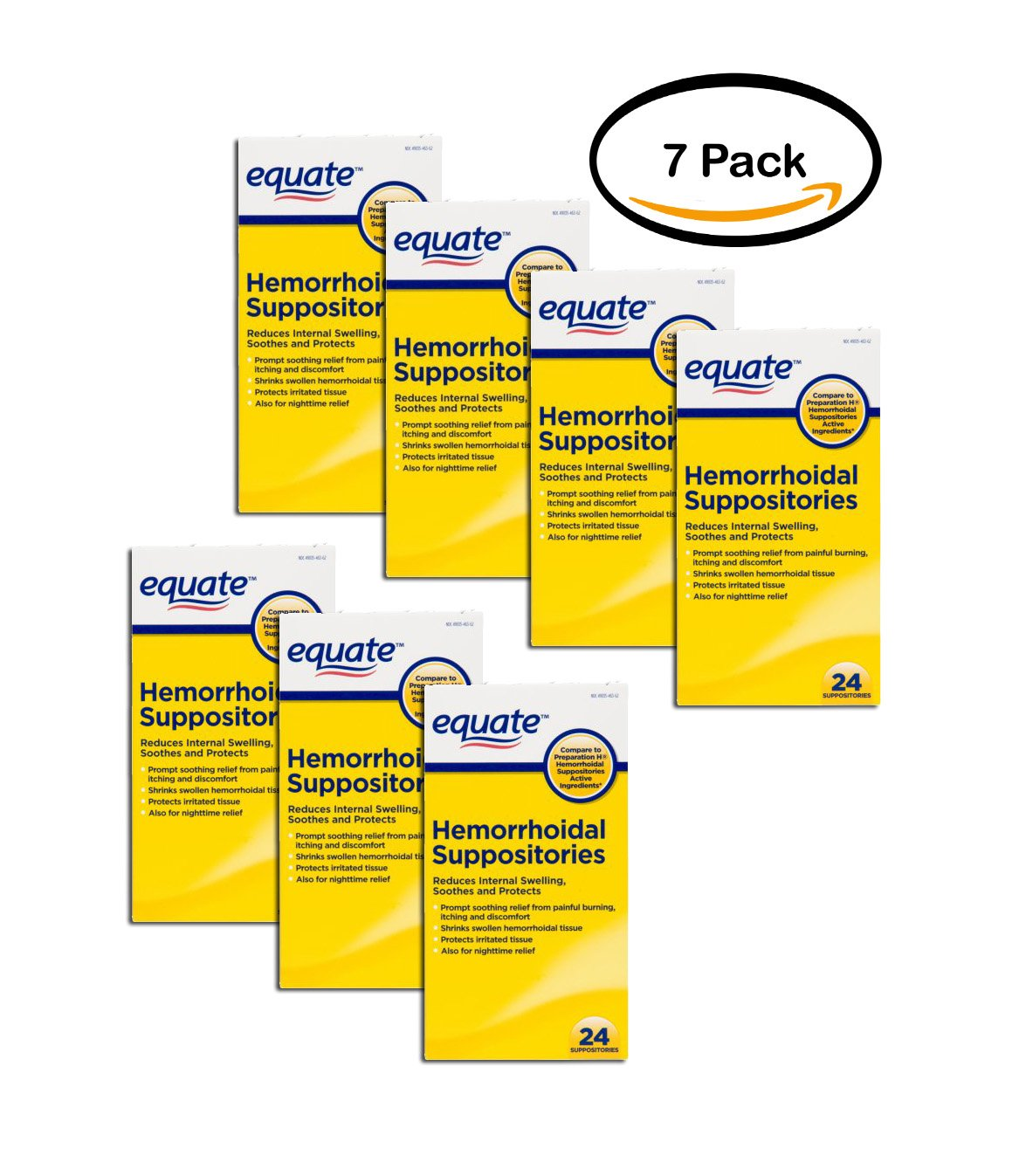 PACK OF 7 - Equate Pain Relief Hemorrhoidal Suppositories, 24 Ct by Equate