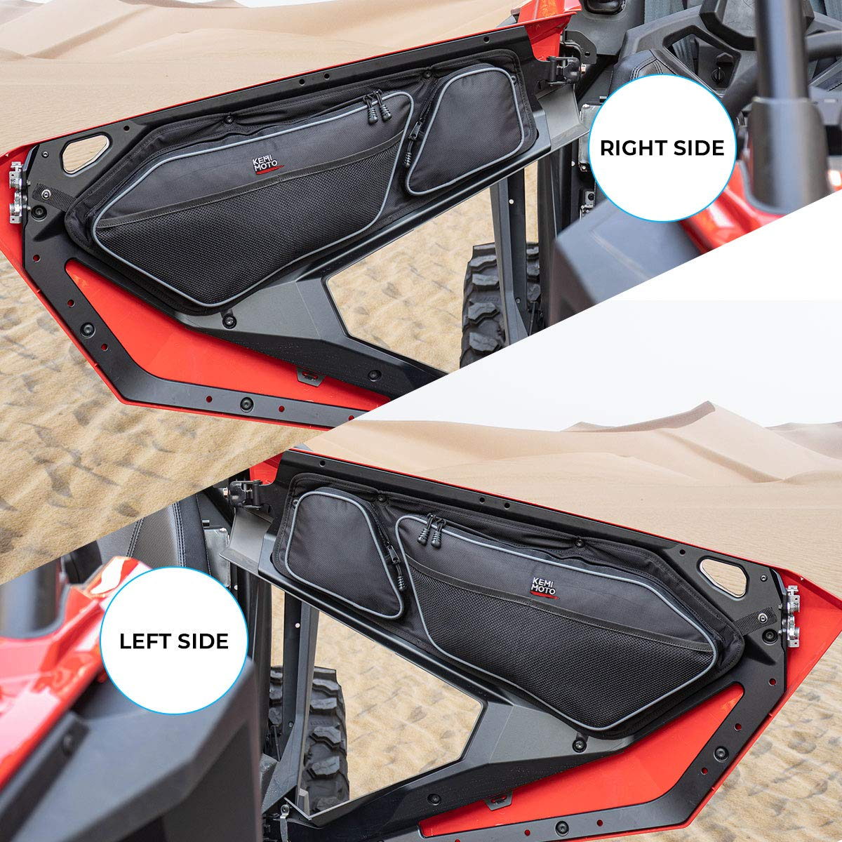 KEMIMOTO 1680D RZR Storage Bag with Removable Knee Pad and PVC Wear Resistant Zippers Compatible with 2020 Polaris RZR PRO XP 2020 RZR PRO XP Door Bags