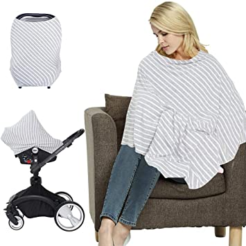 Premium 5-in-1 Breastfeeding Cover Up /& Nursing Poncho//Baby Seat Cover Navy//Whi