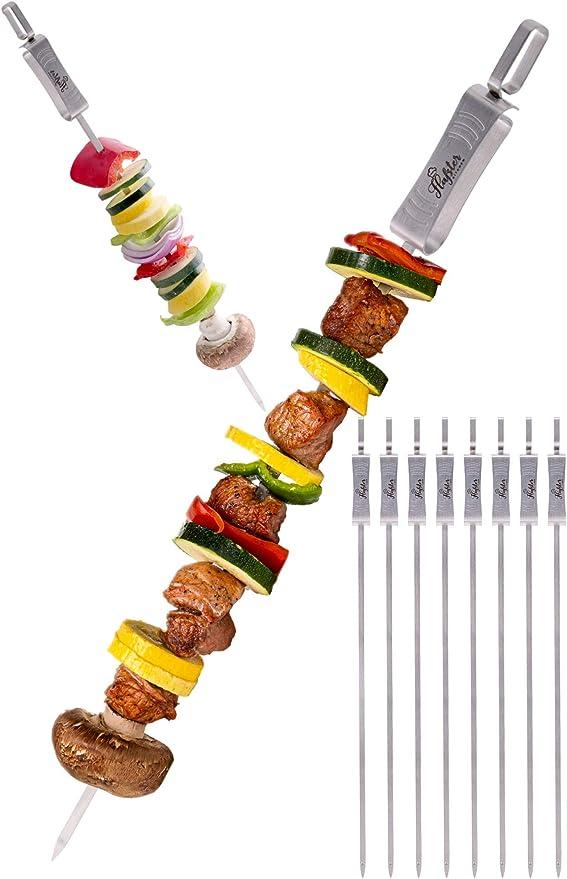 BBQ Kabob Skewers Roasting Sticks Meat Skewers 12-inch Flat Stainless Steel 12pc
