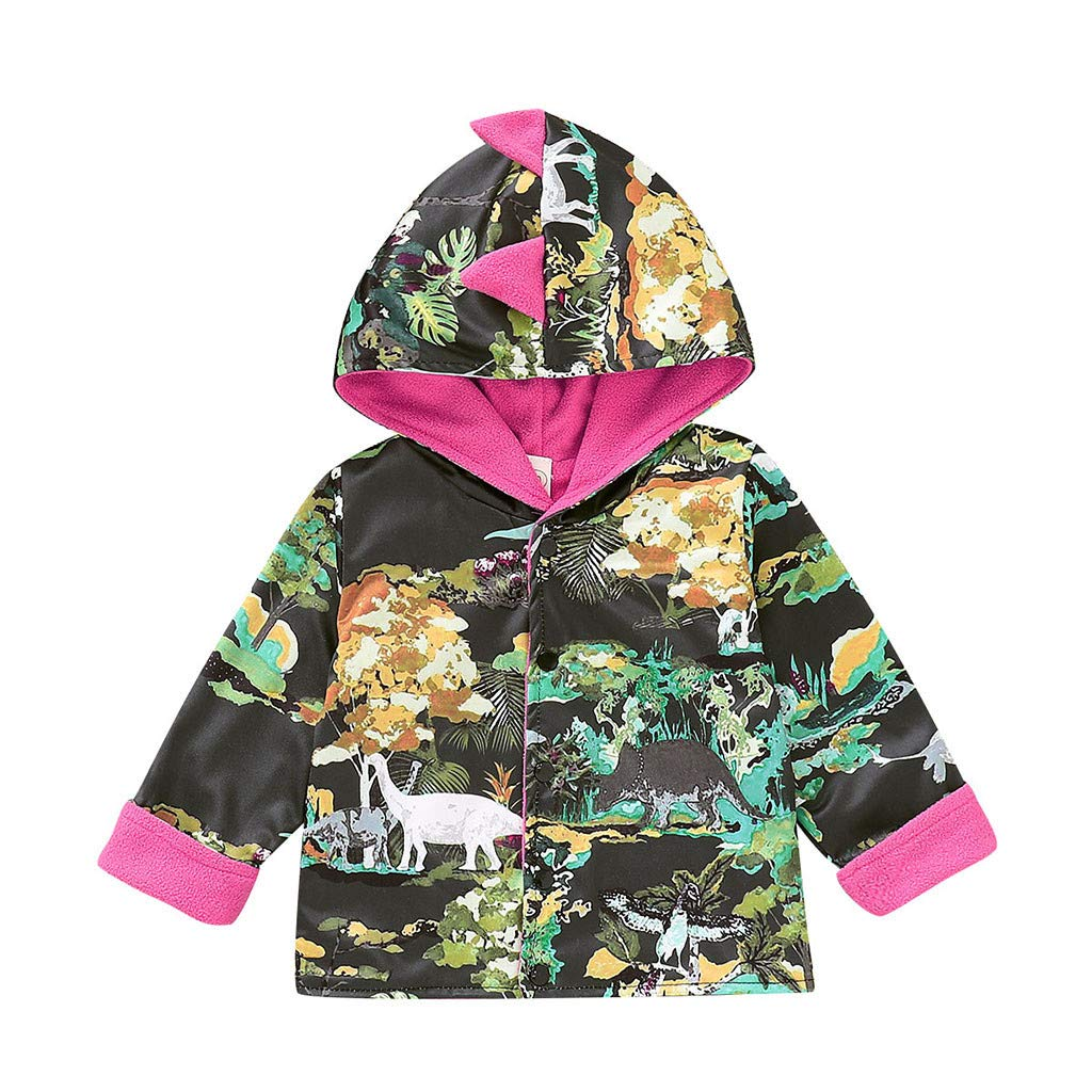 OCEAN-STORE Kids Baby Boys Girls 3 Months-4T Winter Cartoon Dinosaur Coat Jacket Warm Outerwear Clothes