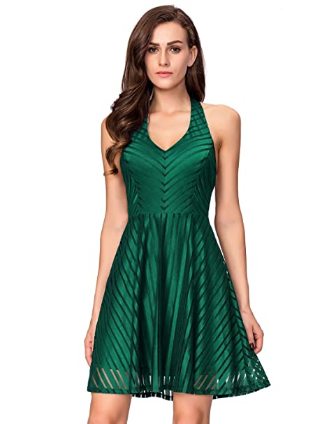 classic style of 2019 cheap durable in use InsNova Women's Striped Halter Backless Skater Cocktail Party Dress
