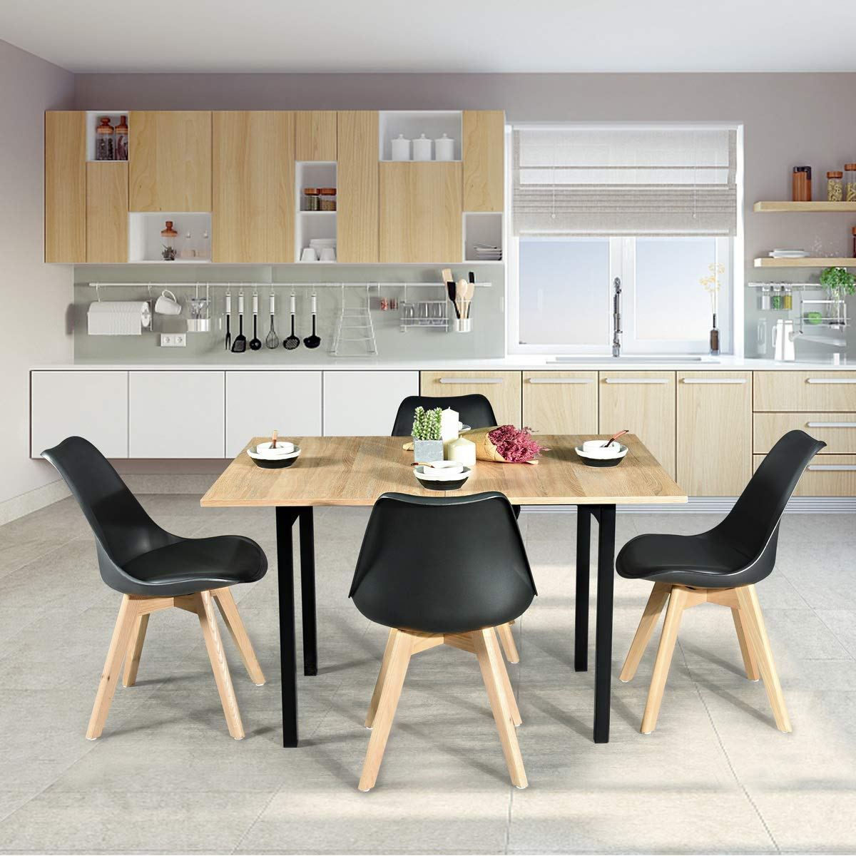 HOMY CASA Multifunction Save Space Wooden Extendable Metal Frame Dining Table Rectangel Kitchen Table for Kitchen,Living Room,Office,Patio