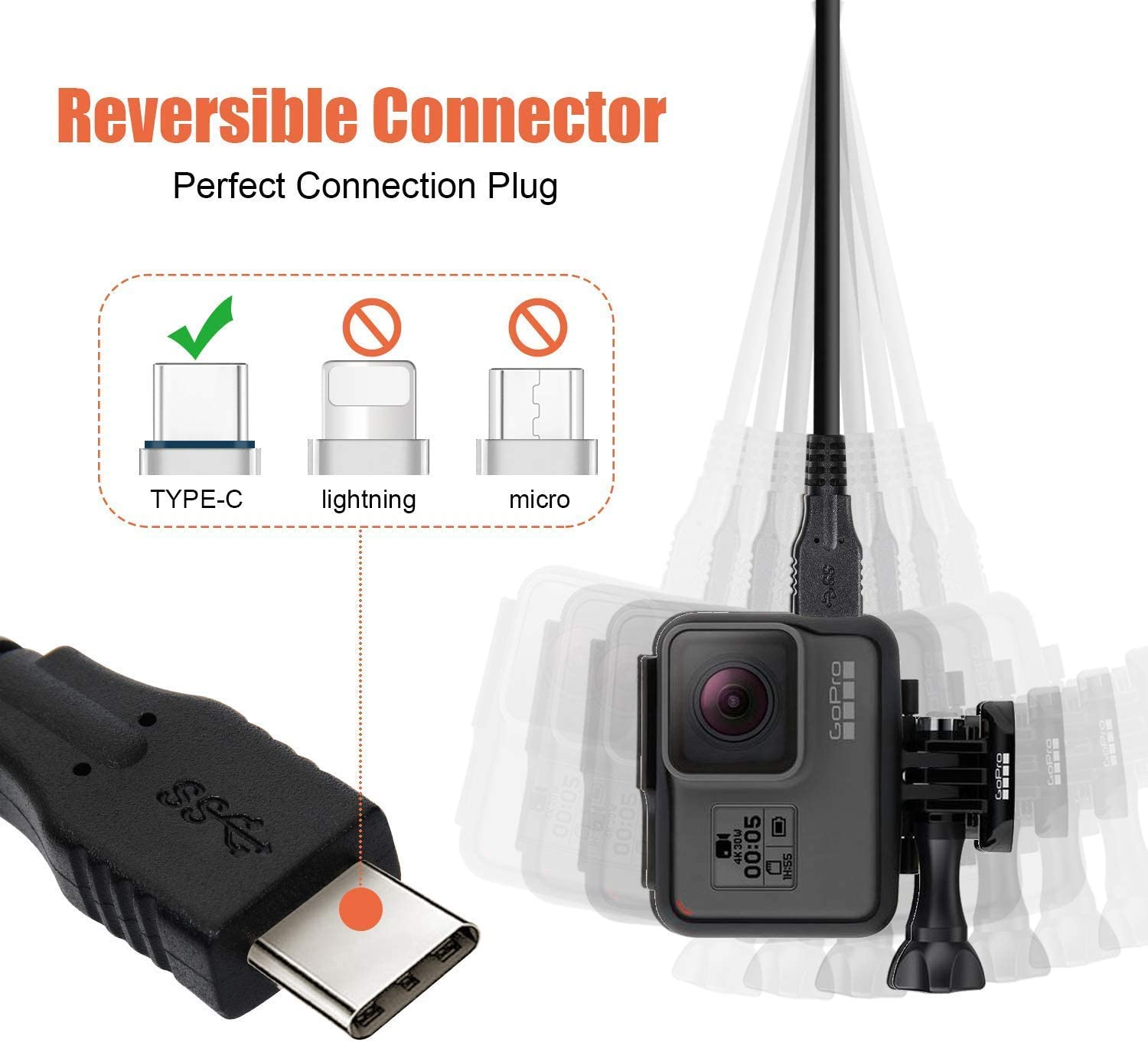 USB Data Sync Power Charger Charging Cord Cable for GoPro Hero 5 Session Camera