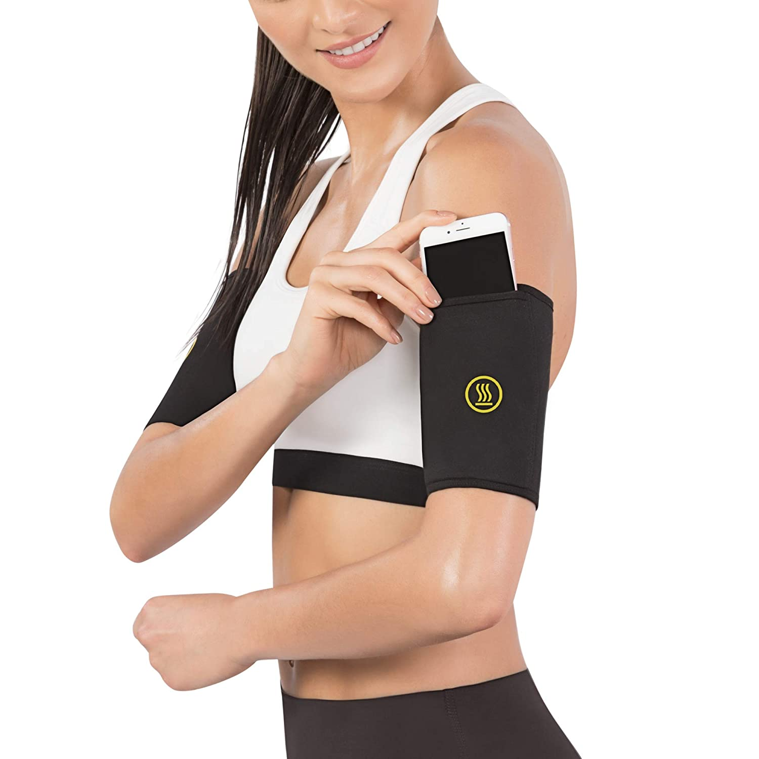 f8abfde083e5d Amazon.com   Hot Shapers Hot Arms Sleeves - Seamless Arm Trimmers with  Phone Pocket for Running   Sports   Outdoors