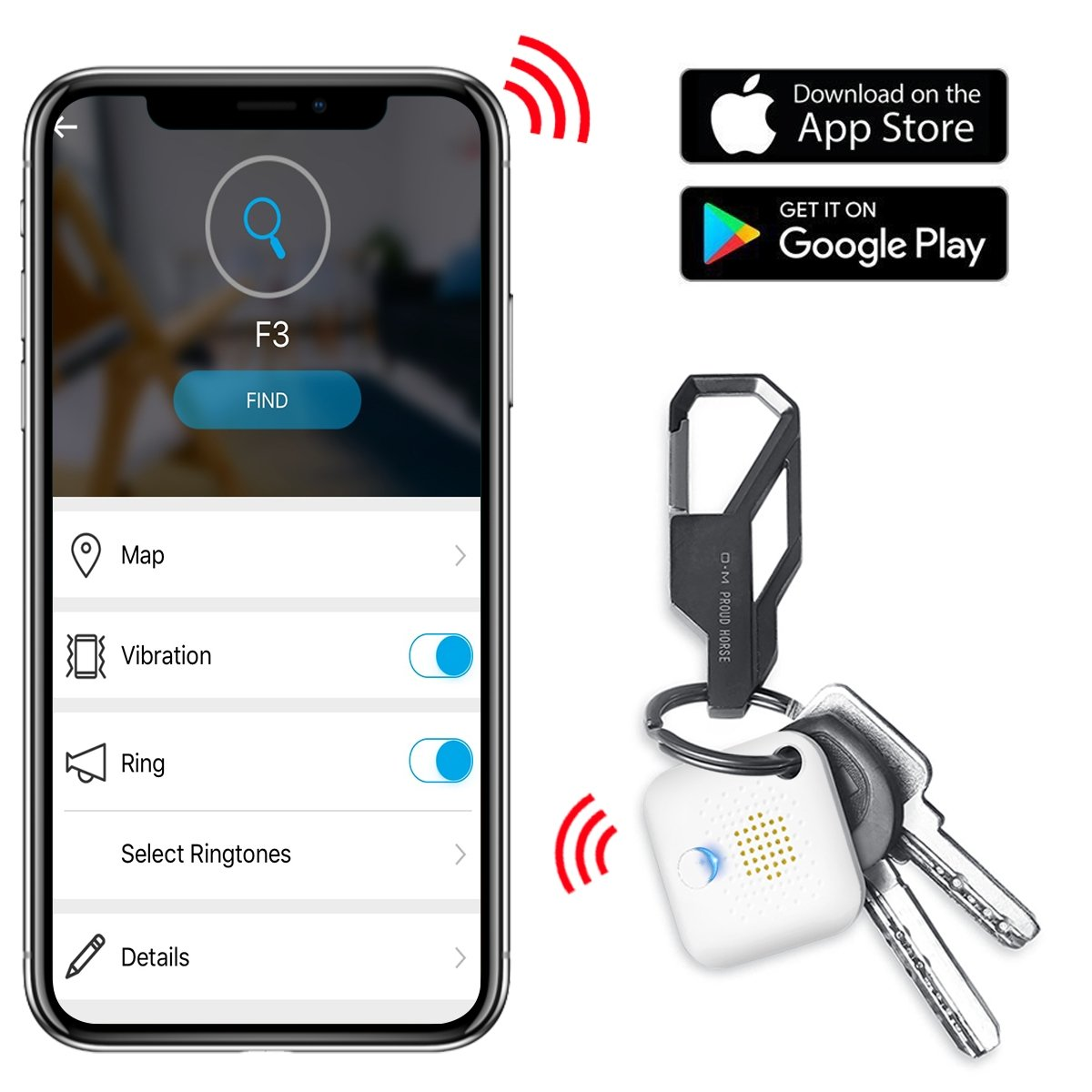 EALNK Key Finder Wallet Phone Locator Lost Item Tracker Compatible with Bluetooth for iOS/iPhone/Android (BT Key Finder) (F3)