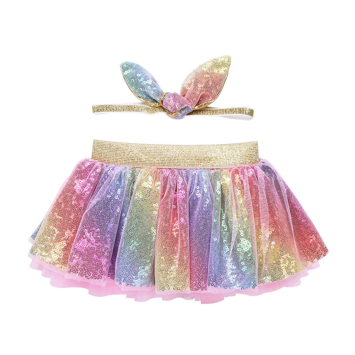 TiaoBug Kids Baby Girls Shiny Sequins Layered Ballet Tulle Rainbow Tutu Skirt Dress up Colorful Hair Bows