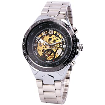 Winner Men Automatic Mechanical Wrist Watch Skeleton Stainless Steel Strap Luxury Vintage Oversize Design +Box