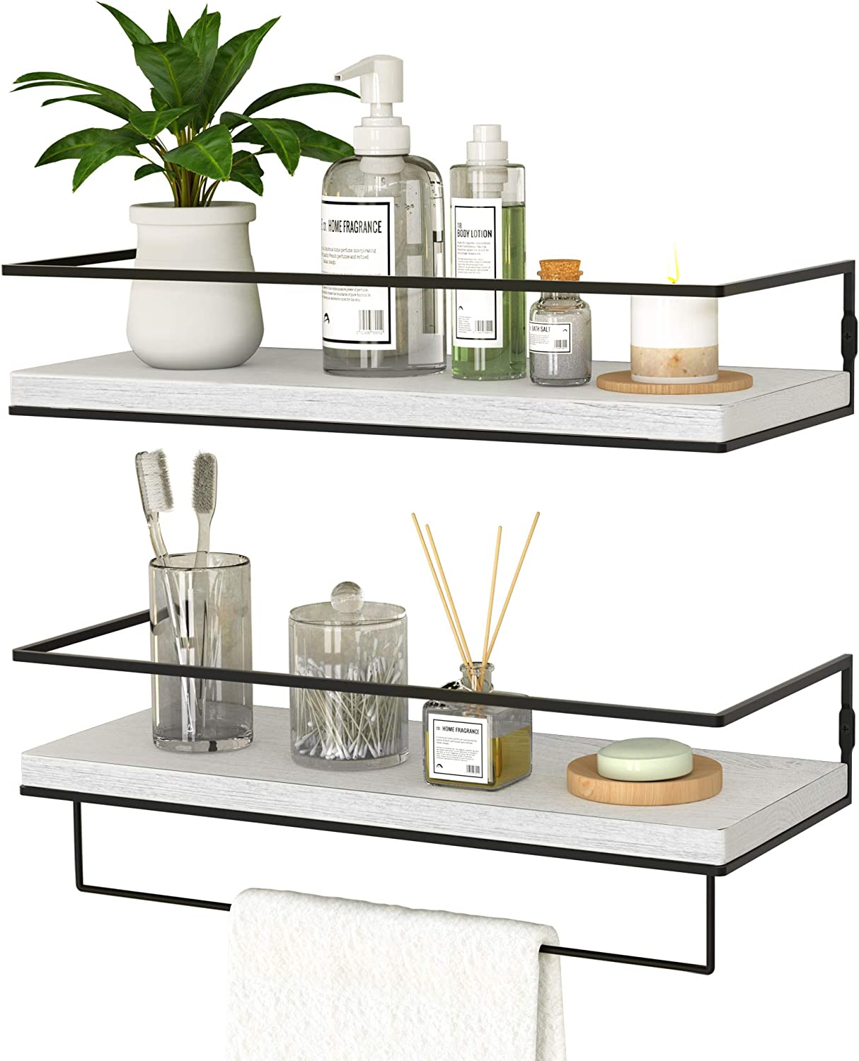 ZGO Floating Shelves for Wall Set of 2, Wall Mounted Storage Shelves with Black Metal Frame and Towel Rack for Bathroom, Bedroom, Living Room, Kitchen, Office (Grey-White)