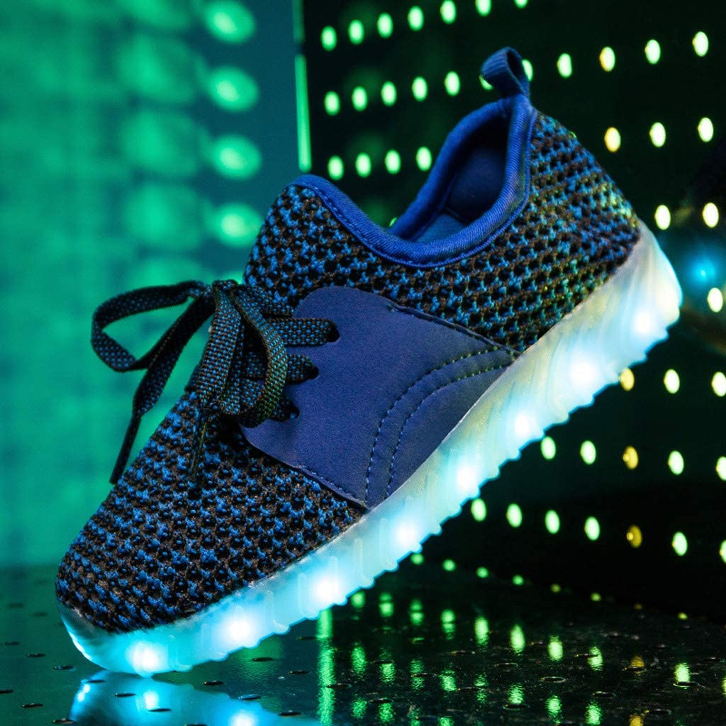 Boys Girls Kids LED Light Up Flashing Sneaker Children Knit Walking Shoes Slip on Sneakers for 3-9 Years Old