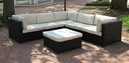 CC Outdoor Living Black Resin Wicker Outdoor Furniture Sectional Sofa Set -  Beige Cushions - Amazon.com : CC Outdoor Living Black Resin Wicker Outdoor Furniture