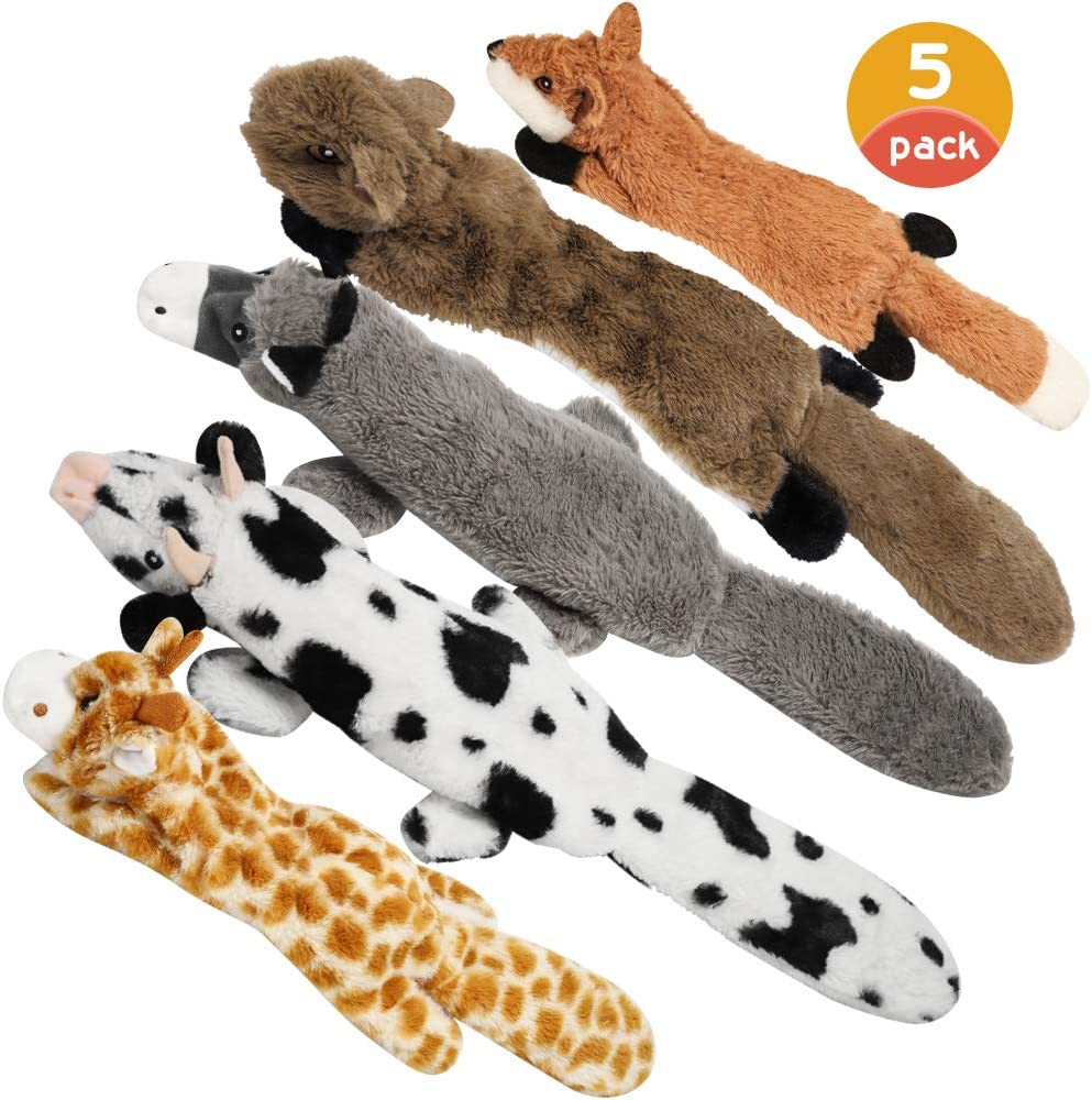 Nocciola Dog Squeaky Toys with Double Layer Reinforced Fabric, Durable Dog Toys, No Stuffing Plush Dog Toy Set for Small to Large Dogs