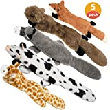 Nocciola Dog Squeaky Toys with Double Layer Reinforced Fabric, Durable Dog Toys, No Stuffing Plush Dog Toy Set for Small…