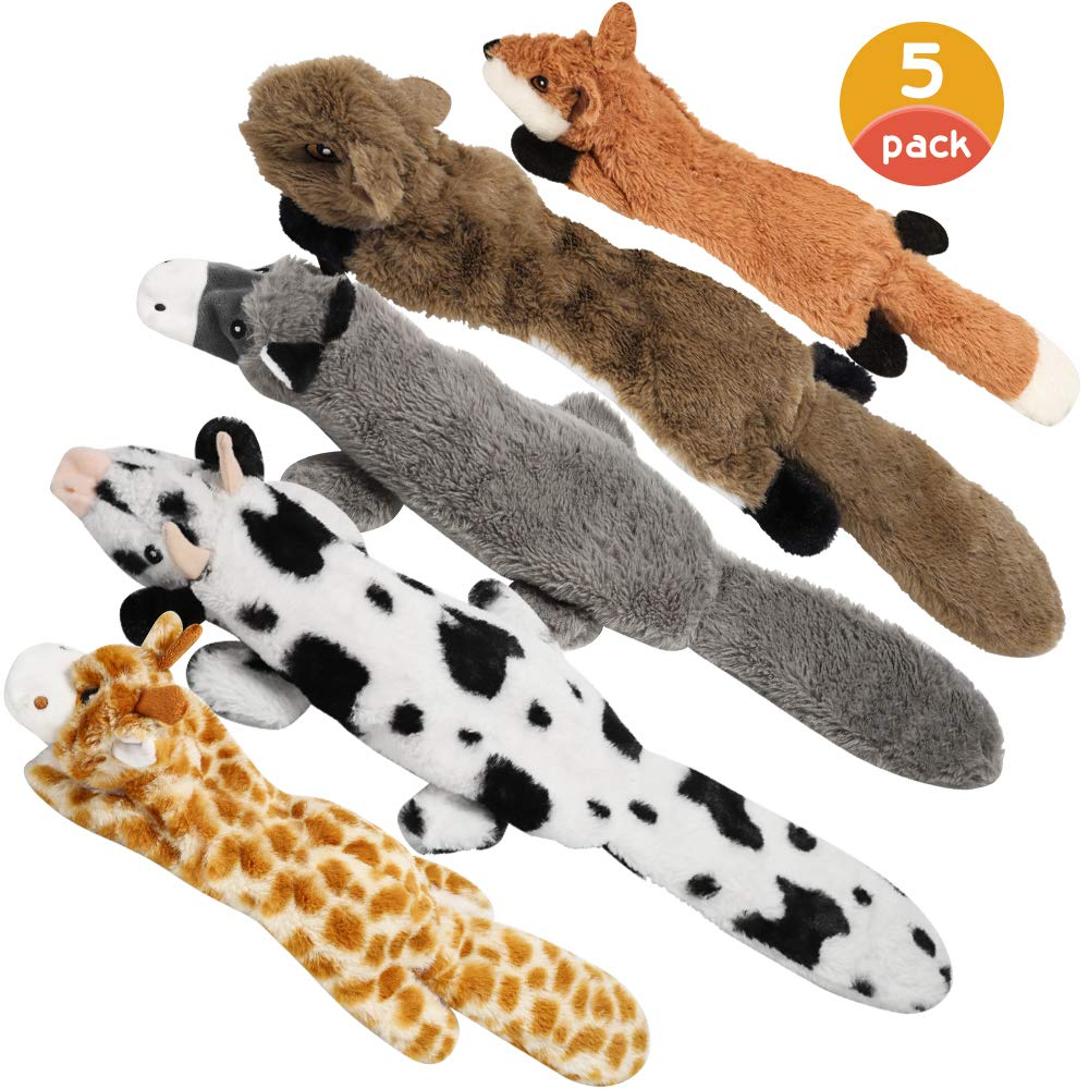 Nocciola Dog Squeaky Toys with Double Layer Reinforced Fabric, Durable Plush Dog Toys, No Stuffing Body Dog Toy Set for…
