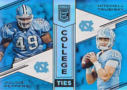 0cf8dd012 Image Unavailable. Image not available for. Color  2017 Elite Football  College Ties  2 Julius Peppers Mitchell Trubisky North Carolina Tar Heels