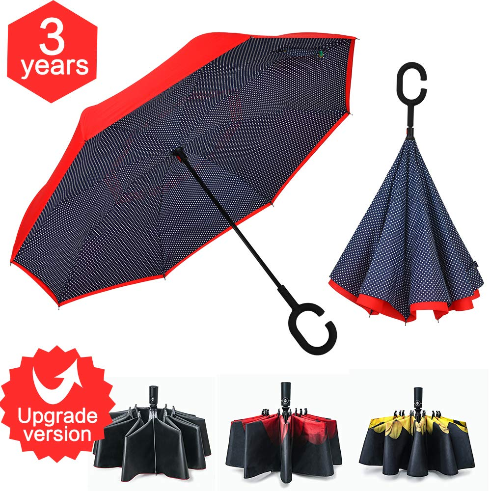 Refrze Double Layer Inverted Umbrellas, Reverse Umbrella Windproof, Upside Down Umbrellas, Reversible Umbrella, Umbrellas for Women with UV Protection with C-Shaped Handle for Outdoor C-Shaped Dot